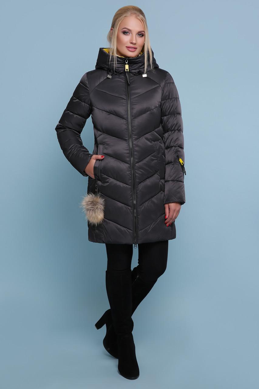 Зимняя куртка пуховик c капюшоном черная