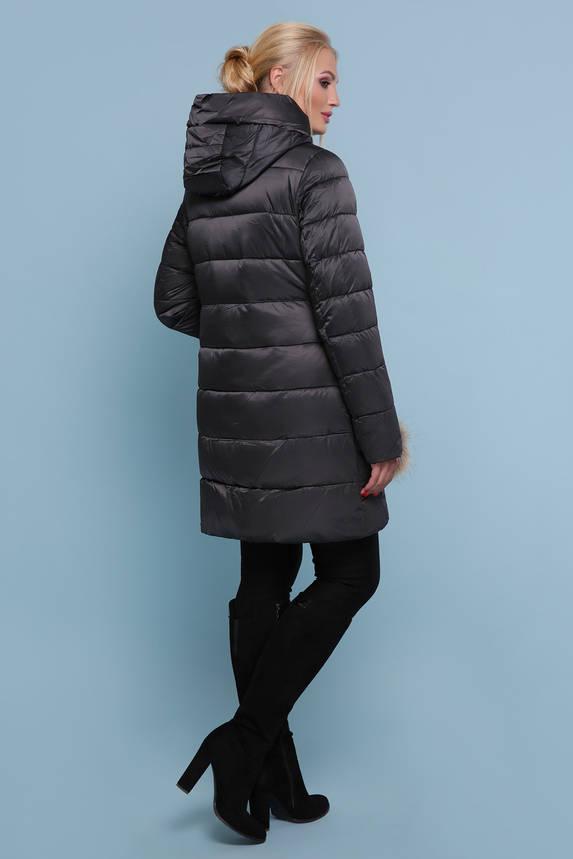 Зимняя куртка пуховик c капюшоном черная, фото 2