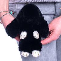 Меховой брелок Зайка из натурального меха кролика Черный  REX18 18 см