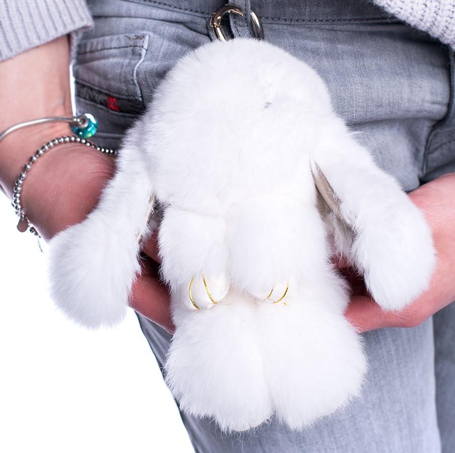 Меховой брелок Зайка из натурального меха кролика  REX18 Белый  18 см