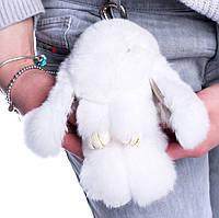 Меховой брелок Зайка из натурального меха кролика  REX18 Белый  18 см, фото 1
