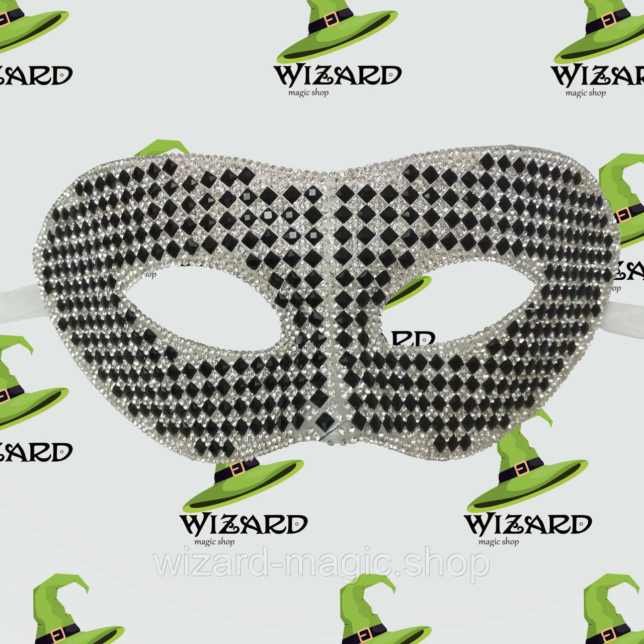 Венецианская маска из кристаллов (черная)