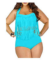 Раздельный женский купальник батал с бахромой. Размеры : L, XL, XXL , XXXL, 4XL. Разные цвета., фото 1