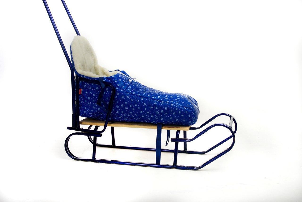 Конверт для санок и колясок с высокой спинкой снежинки