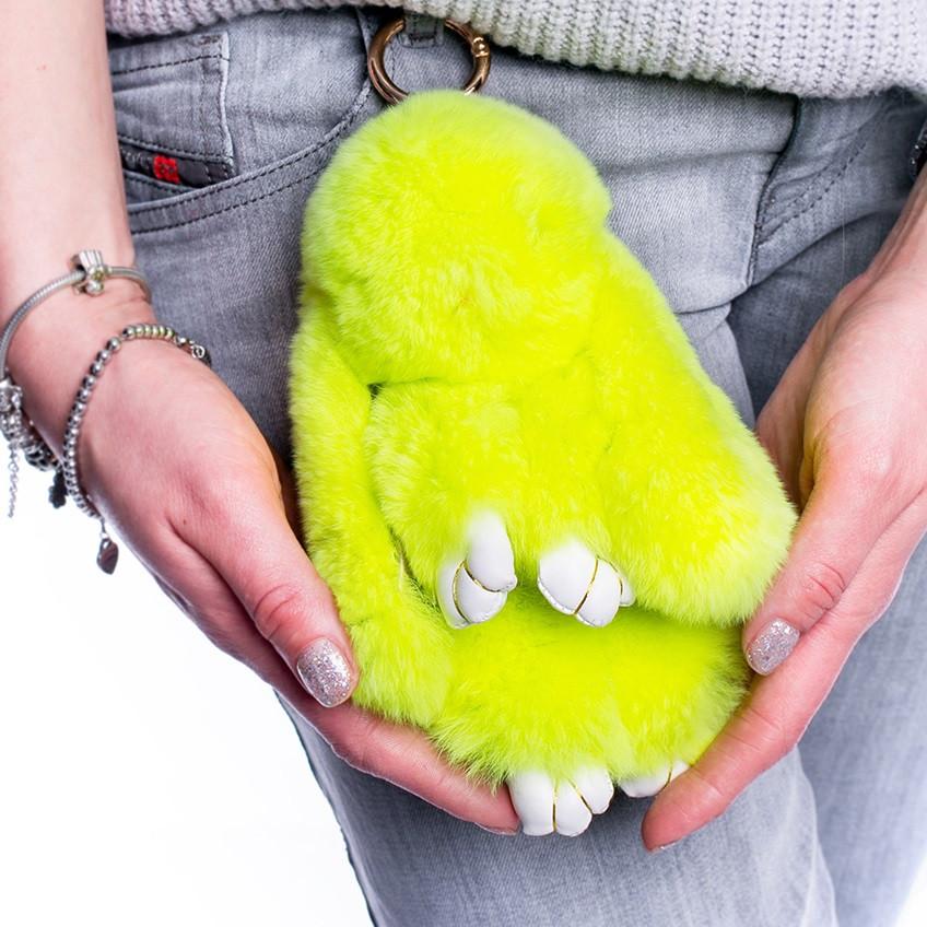 Меховой брелок Зайка из натурального меха кролика  Лимон  REX18 18 см