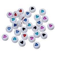 Акриловая бусина, Круглая, Плоская, Белый цвет с цветным сердечком, Сердце, Цвет: Микс, 7 мм диаметр х 3.6 мм