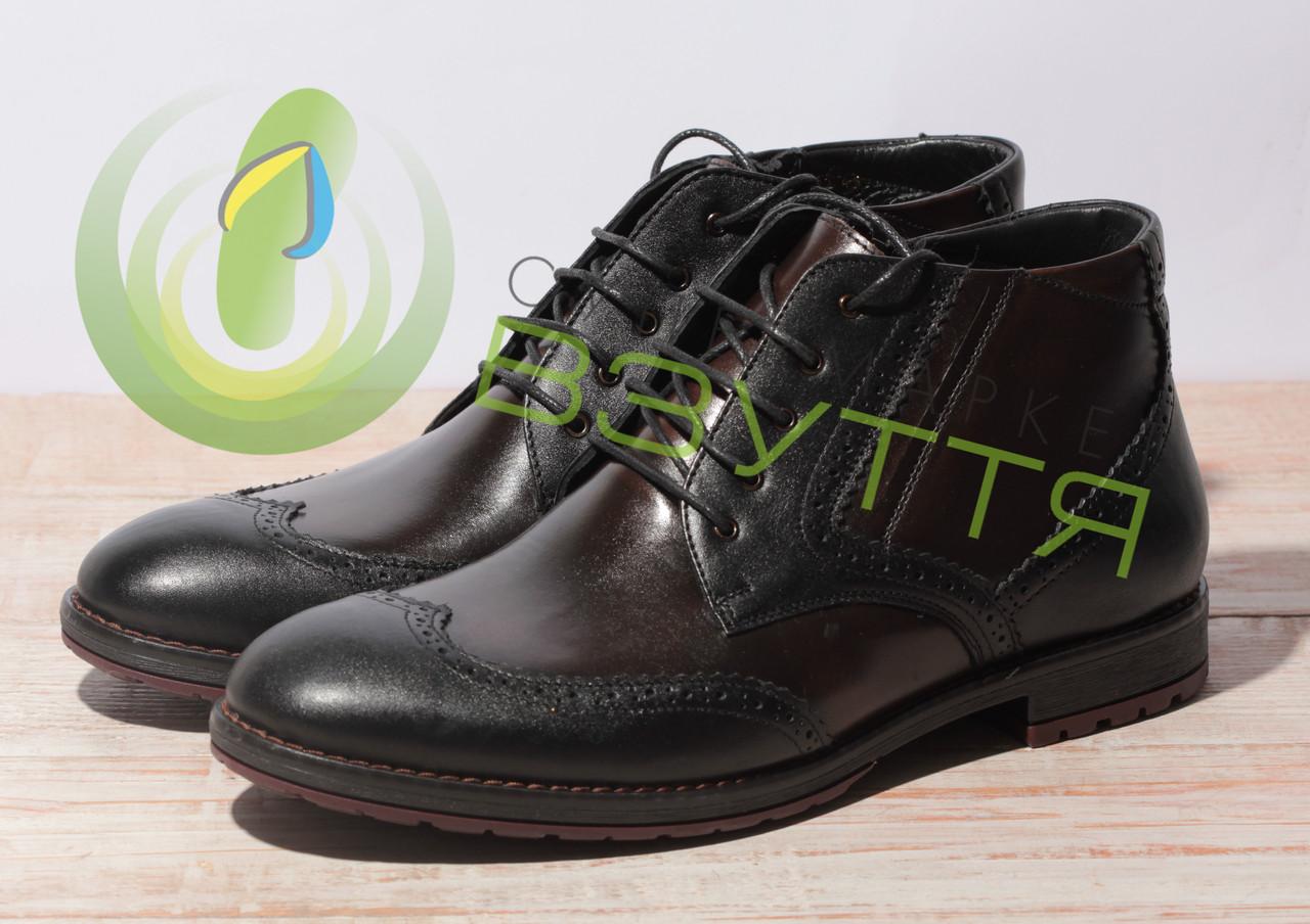 Кожаные зимние  мужские ботинки  арт 3553 ч\кор размеры 43,45