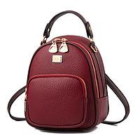 Рюкзак женский кожзам мини сумка Belladonna Бордовый, фото 1