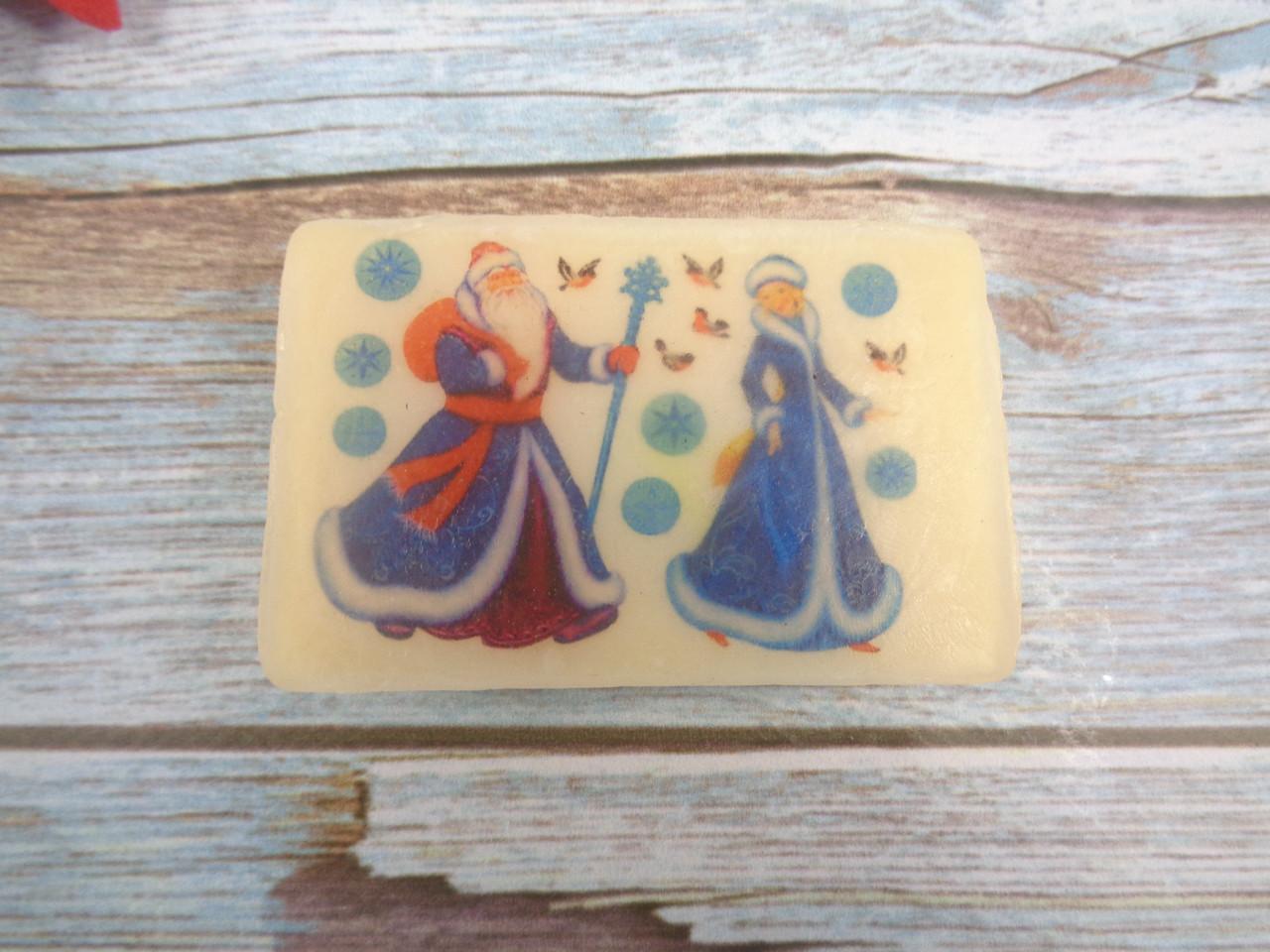 Мыло с картинкой «Дед Мороз и Снегурочка» прямоугольное (2 варианта)