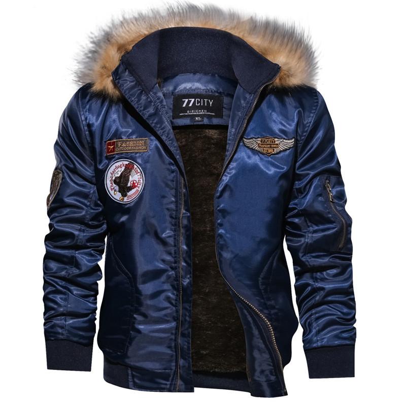 Куртка для мужчины зимняя или осенняя! Синяя куртка с меховым воротником