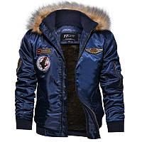 Куртка для мужчины зимняя или осенняя! Синяя куртка с меховым воротником, фото 1