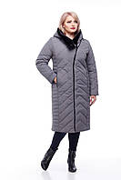 Длинное стеганное пальто с мутоном большие размеры с капюшоном  размеры 48-60