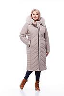 Длинное стеганное пальто с песцом цвет латте большие размеры с капюшоном  размеры 48-60