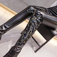 Женские теплые лосины из эко-кожи с пайетками черные, фото 1