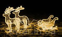 Новий рік прикраси олень з саньми 1,5 м
