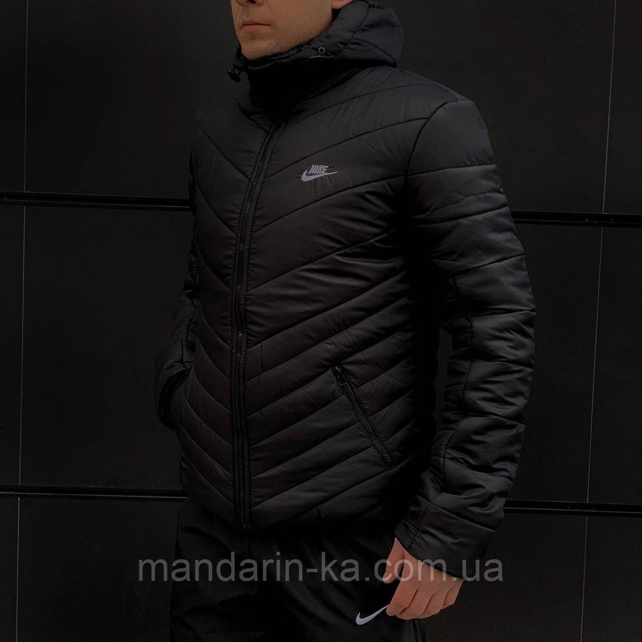 Куртка мужская зимняя  черная Nike Найк (реплика)