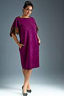 Красивое женское замшевое платье с оригинальным рукавом крылышко. Размеры : 50,52,54,56,58,60,62.  + Цвета