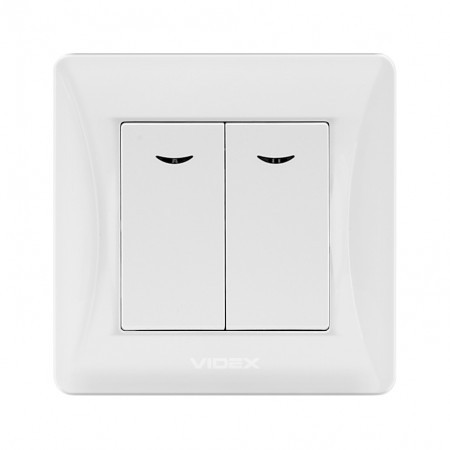 VIDEX BINERA Выключатель белый 2кл с подсветкой (VF-BNSW2L-W) (20/120)