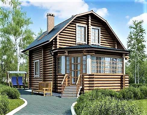Дом из оцилиндрованного бревна 7х10 м