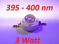 Ультрафиолетовый светодиод 3Вт 395-400nm. EPILEDS, UV. 80-90 lm