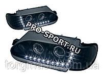 """Тюнинг фары ВАЗ 2113, 2114, 2115 в стиле """"A5"""" поворотник, дневные ходовые огни, чёрные H7/H7 RS-06725"""
