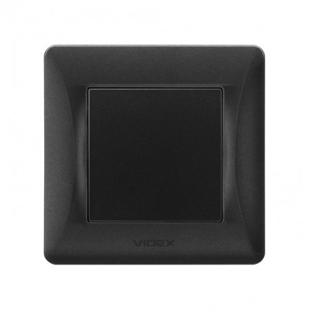 VIDEX BINERA Выключатель черный графит 1кл проходной (VF-BNSW1P-BG) (20/120)