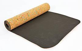 Коврик для йоги Пробковый каучуковый двухслойный 5мм Record FI-6977 , фото 2