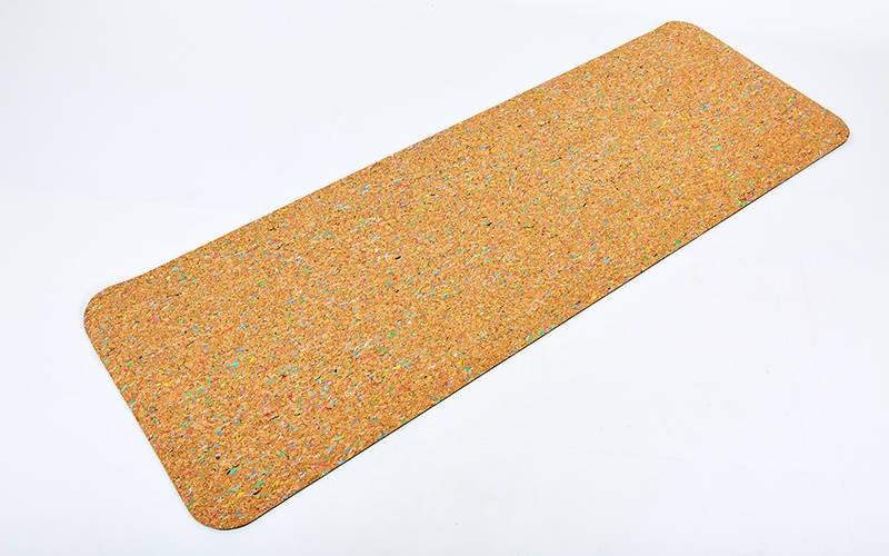 Коврик для йоги Пробковый каучуковый двухслойный 5мм Record FI-6977