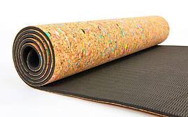 Коврик для йоги Пробковый каучуковый двухслойный 5мм Record FI-6977 , фото 3