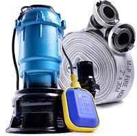 Фекальный насос с НОЖОМ EURO FORWATER2.5кВт, + пожарный рукав 10м (либо 20м)с гайками 2 года гарантия