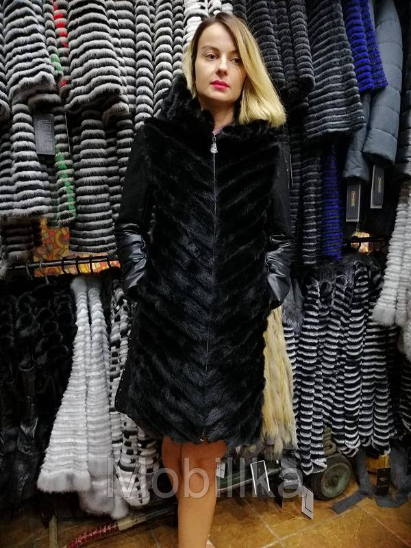Норковое зимнее пальто с кожаными рукавами и капюшоном, шуба 2в1, шубка, норочка - Mobillka в Киеве