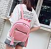Рюкзак женский кожзам с кисточкой Fendi Розовый, фото 2