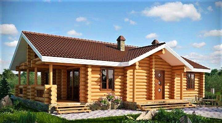 Дом из оцилиндрованного бревна 9х16 м