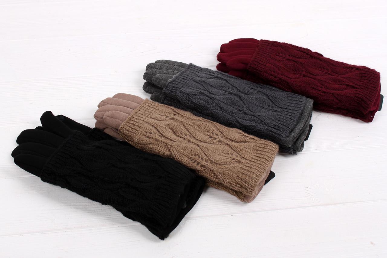Женские перчатки трикотажные с ажурной митенкой Рики упаковка