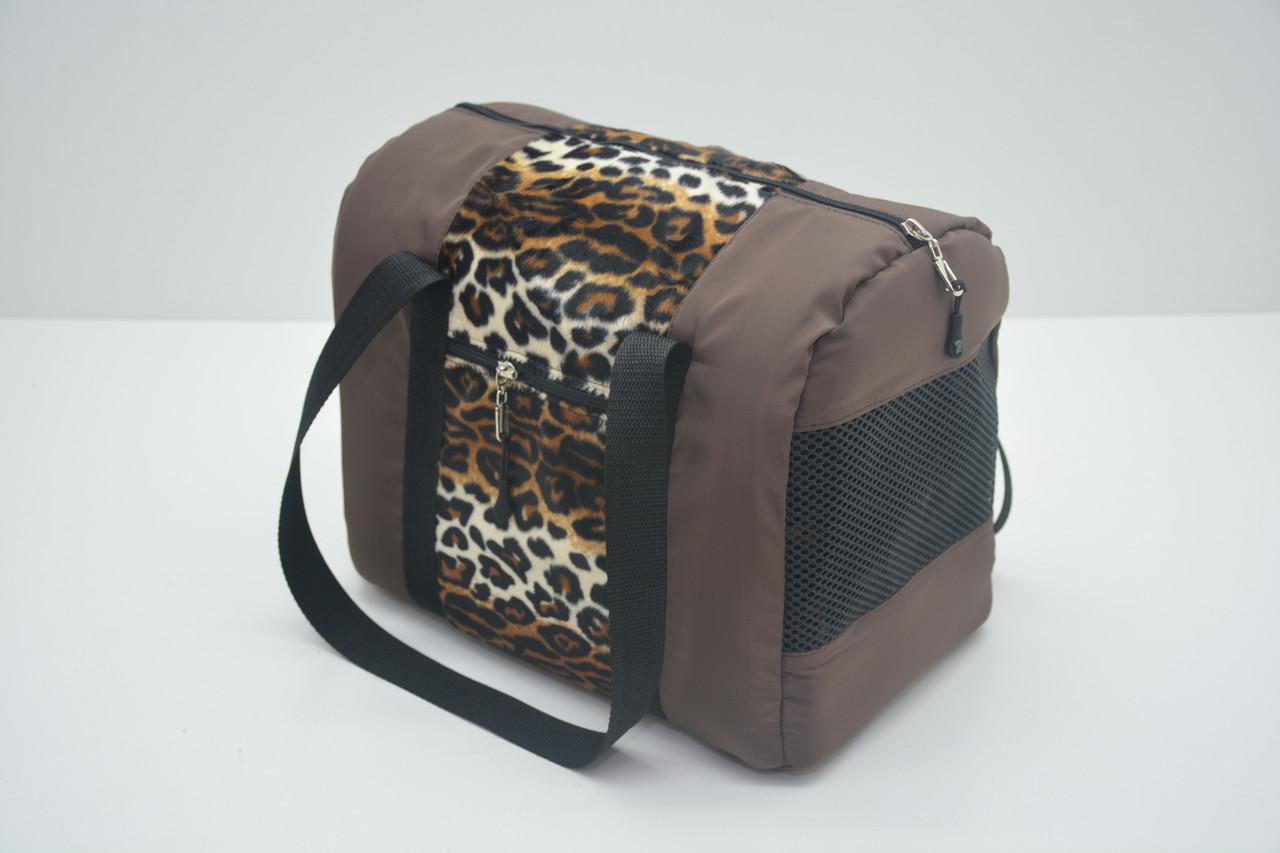 Сумка-туннель для переноски котов и собак Леопард коричневая