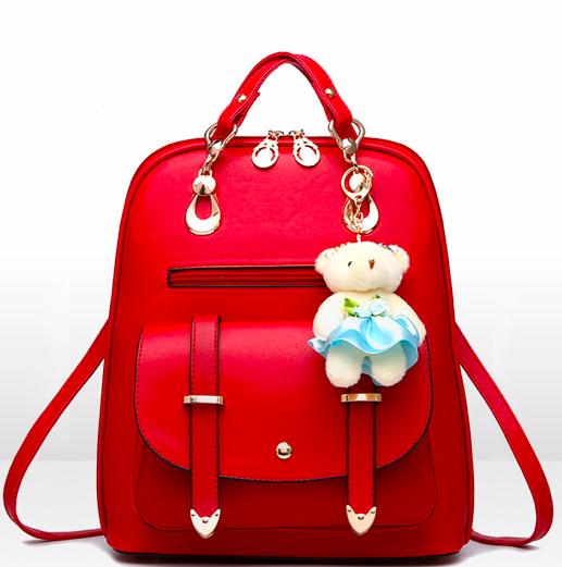 Рюкзак женский кожзам  сумка Sweet Bear Красный