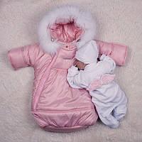 Зимний набор на выписку Космонавт+Angel, розовый, фото 1