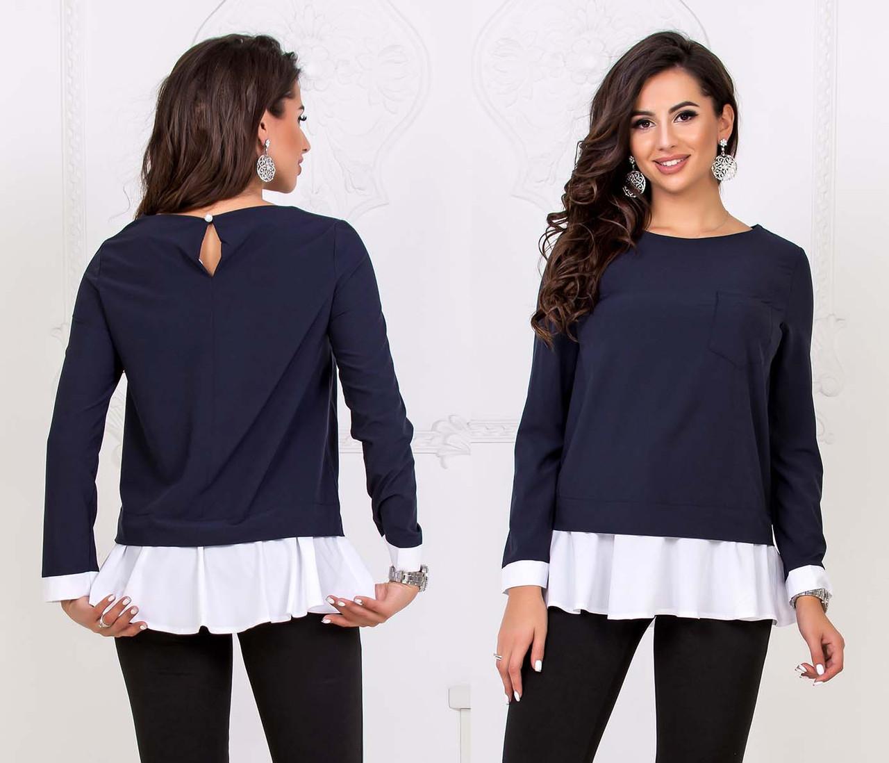 """Женская стильная блузка-туника до больших размеров 41115 """"Софт Оборка Контраст"""""""