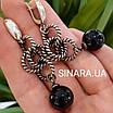Стильні срібні сережки-підвіски з чорним перлами (імітація), фото 5