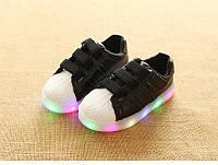 Black&White kids, Черно-белые светящиеся кроссовки LED, размер 21-30 (LK 1055)