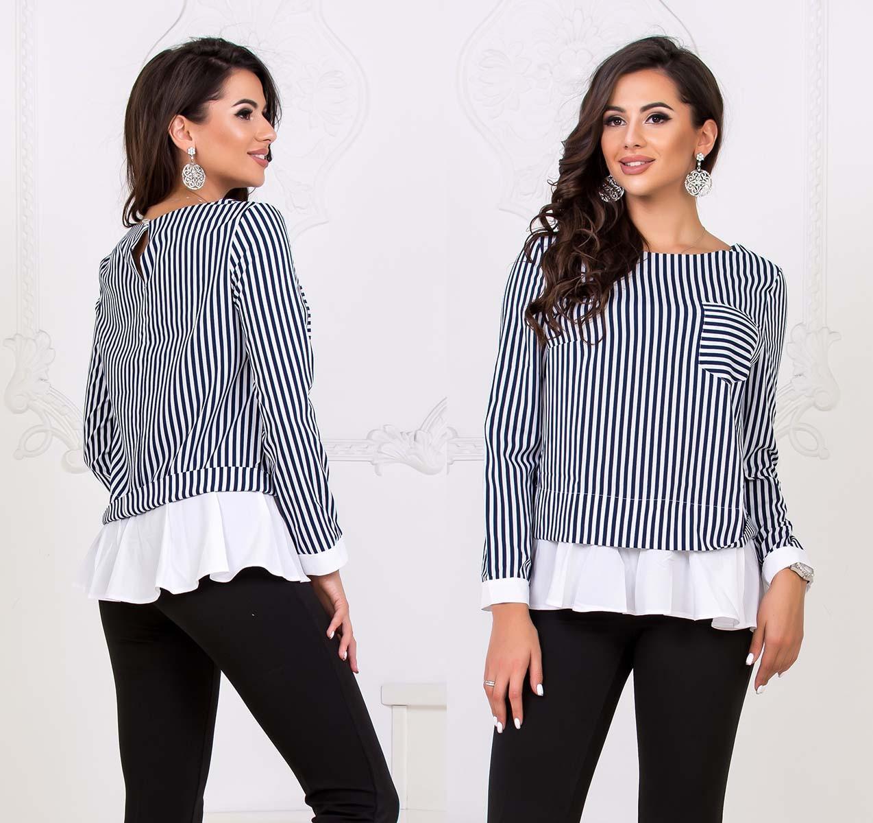 """Женская стильная блузка-туника до больших размеров 41115 """"Софт Полоска Оборка Контраст"""" в расцветках"""
