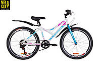 """Велосипед 24"""" Discovery FLINT 2019  бело-голубой с розовым"""