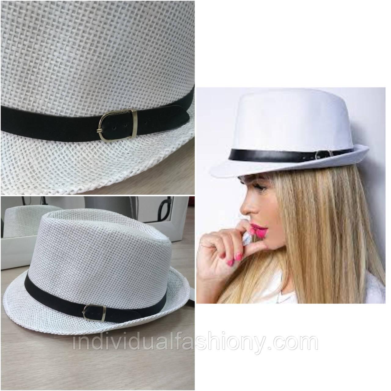 Шляпа Трилби белая с черным ремешком