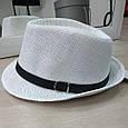 Шляпа Трилби белая с черным ремешком, фото 2