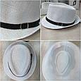Шляпа Трилби белая с черным ремешком, фото 3