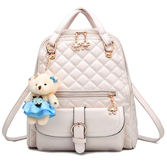 Рюкзак женский Sweet Bear стеганый сумка Бежевый