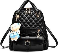 Рюкзак женский кожзам Sweet Bear стеганный сумка Черный, фото 1