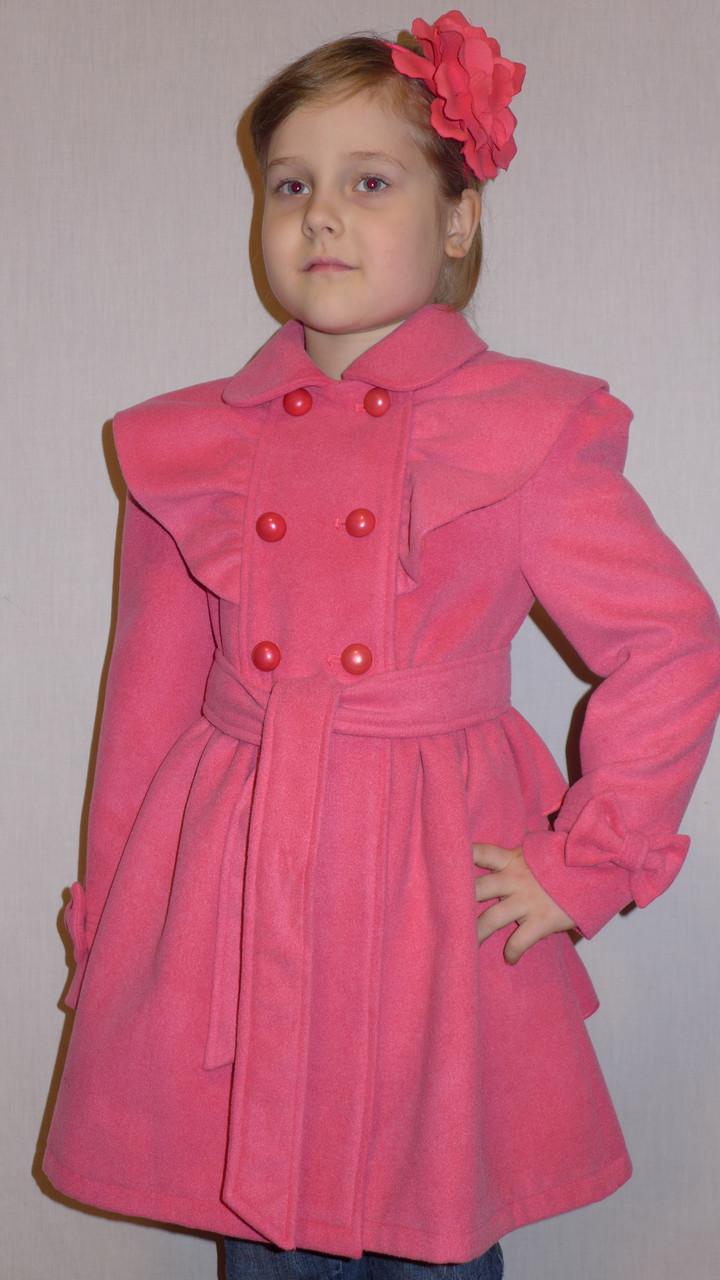"""Детская одежда .   Пальто кашемировое  """"Оборка"""" розовое."""