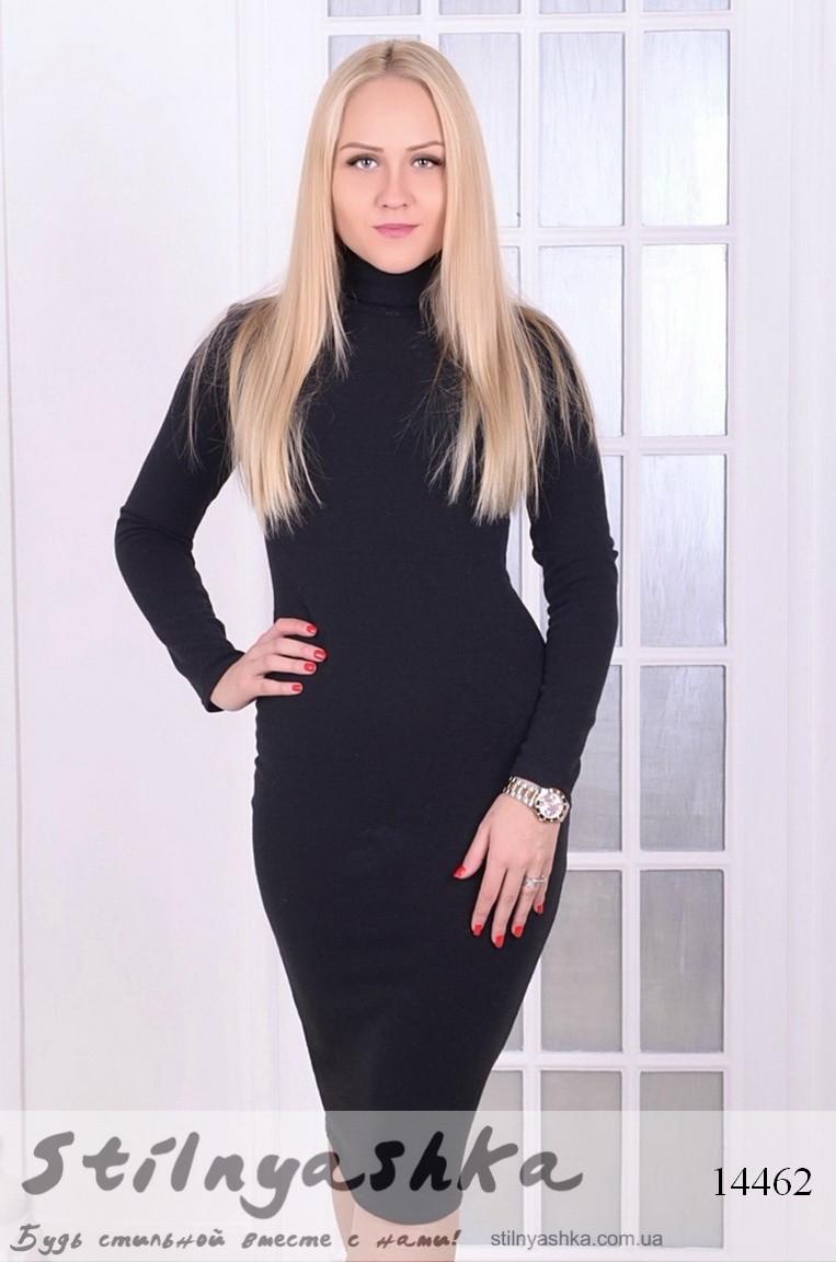Ангоровое платье-гольф черное, фото 1