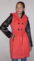 """Кашемировое пальто для девочки с кожаными вставками """"Бантик-Кожа"""" (коралл)"""